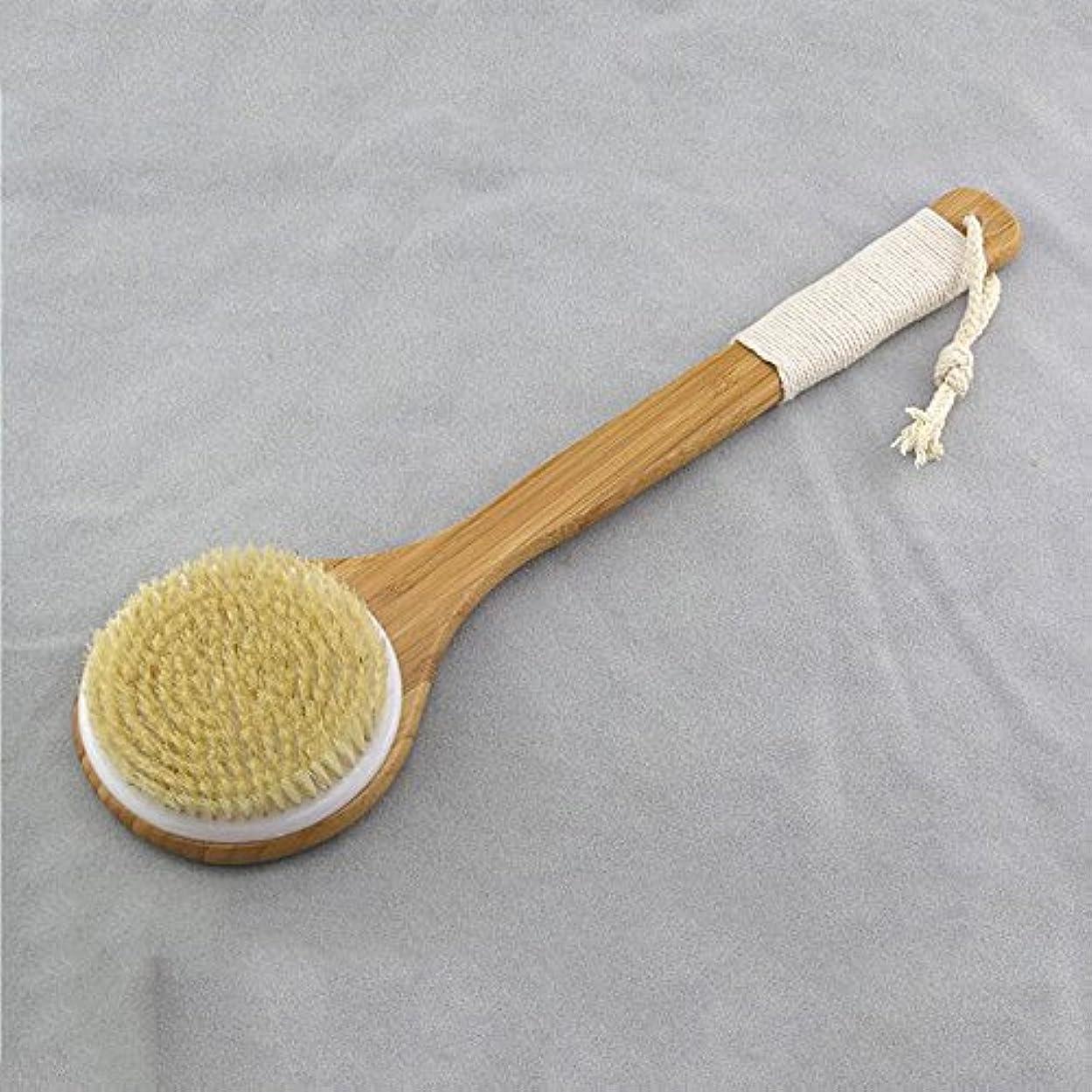シダ最も早い自分のBigmind ボディブラシ ロング マッサージ 豚毛100% 体洗いブラシ お風呂グッズ 竹製長柄 角質除去 美肌効果 背中