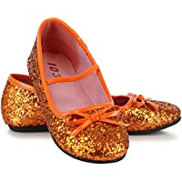 Orange Sparkle Ballet Flat Child Shoes オレンジはバレエフラットチャイルドシューズスパークル?ハロウィン?サイズ:Medium (13/1)