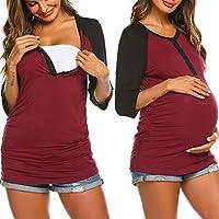 Ekouaer Women's Maternity Nursing Top 3/4 Sleeve Breastfeeding Henley Shirt Tees (S-XXL)