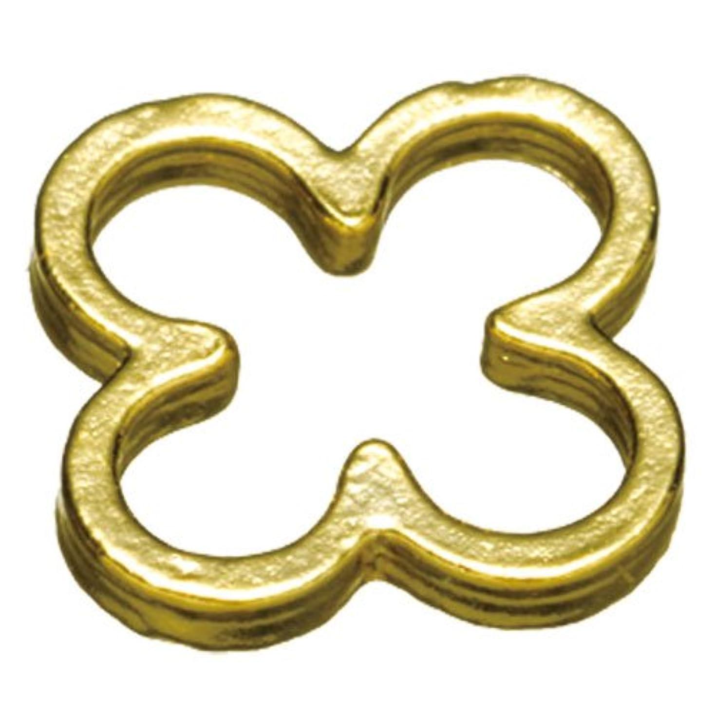 報酬のスピーカー再現するプリティーネイル ネイルアートパーツ プレーンフラワーL ゴールド  10個