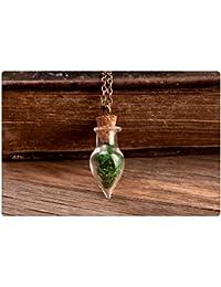 本物の苔ネックレス、自然のネックレス、グリーンネックレス、小さなネックレス、苔ペンダント、アンティーク真鍮ネックレス、ガラスバイアルのネックレス、ガラスペンダント