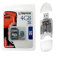 Kingston 4GB microSD microSDHCメモリカードwithクラス4SDアダプタとMalcom Distributorsマルチフォーマット透明USBメモリカードリーダーライターfor SD MicroSD MiniSD MMC rsMMCメモリカード