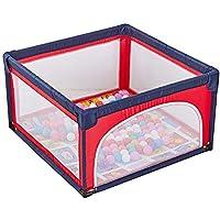 ベビーサークル マット&100玉付きベビープレイヤード屋内幼児ベビーサークルポータブル子供の安全フェンスプレイヤード (色 : Red)