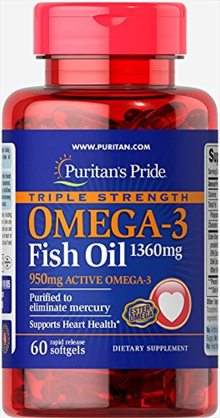 立ち寄る協同甘美なピューリタンズプライド Puritan's Pride 濃縮オメガ3フィッシュオイル 1360 mg.