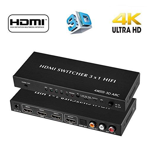 BLUPOW 4K x 2K 多機能 HDMI 切替器 3入力 1出力 + 音声 分離(SPDIF 光・同軸デジタル・RCA L/R・3.5mm音声出力)HDMI セレクター hdmi 分配器 hdmi 分離 音声 hdmi1.4 2160P 3D ARC対応 Dolby Digital Audio for Mac・PS4・Apple TV・Roku・Fire TV・Blu-ray Players・HD TV -