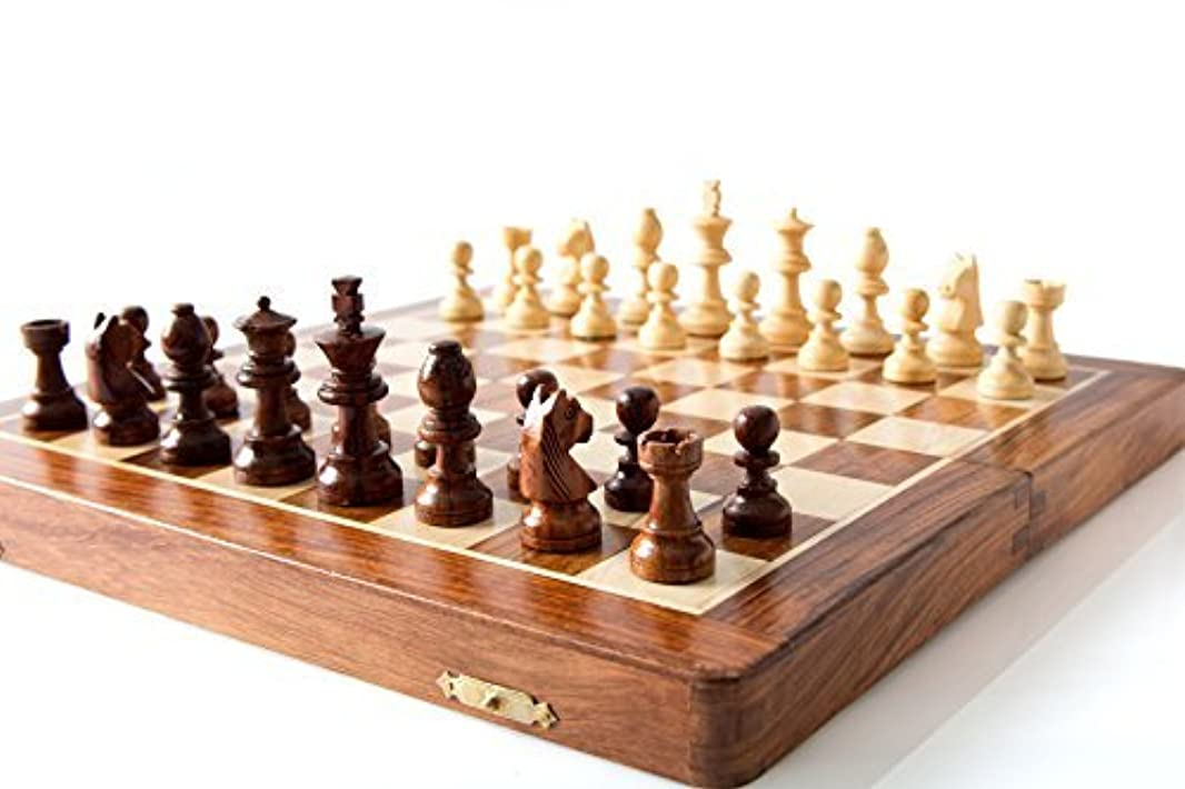 StarZebra Chess Set - Wooden Magnetic Travel Chess Set with Staunton Pieces and Folding Game Board 12' Inch - Handmade By Artisans in India [並行輸入品]