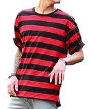 ジョーカーセレクト(JOKER Select) Tシャツ メンズ 半袖 ボーダー ビッグTシャツ ビッグシルエット ロング クルーネック FREE レッド(2)