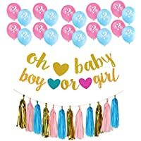 Glitter Letters Oh Baby and Boy or GirlバナーGender Reveal Boy or Girl写真ブース小道具バルーンwith用紙タッセルガーランドセットforベビーシャワー