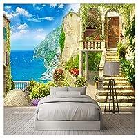 庭園の海の景色、リビングルームのための壁紙3D壁画壁アート装飾ポスター400 cm(W)x 280 cm(H