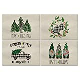 Artoid Mode Christmas Placemat for Dining Table Christmas Tree Ornament Gnome Truck, 12 x 18 Inch Winter Holiday Rustic Washable Table Mat Set of 4