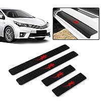 汎用 車の炭素繊維 スカッフプレート サイドステップガード ドア スカッフプレート タイプA 銀 超高輝度反射板 4枚