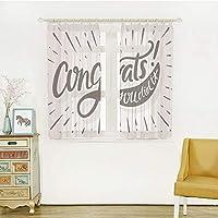 幅100cm×丈108cm 2枚組 ロングカーテン 軽い薄い オシャレ お部屋が明るい!でもしっかり UVカット 外から見えにくい 卒業の装飾、レトロな手紙おめでとうございます