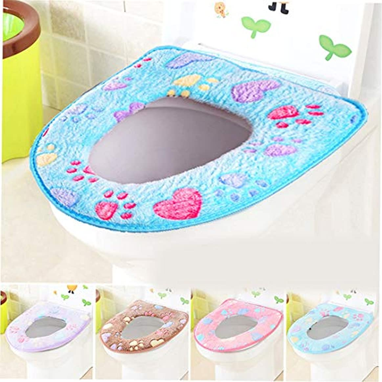 Swiftgood トイレマット浴室柔らかく厚い暖かい便座カバーパッド伸縮性洗える布トイレ便座クッション