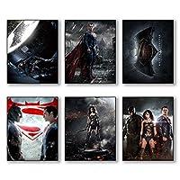 Batman v Superman : Dawn of Justice -- SET of 6 PHOTO PRINTS of the American superhero film DC Comics w/ Wonder Women by BigWig Photos
