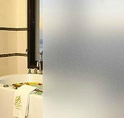 CottonColors 窓用フィルム 目隠しシート 断熱 紫外線カット 何度も貼り直せる 粘着剤なし プライバシーガラスフィルム 44.5x200cm [すりガラス023]