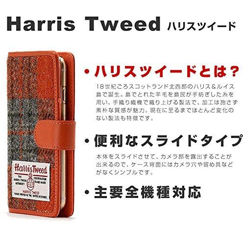 HIGHCAMP ハンドメイド 多機種対応 Galaxy S3 Progre (SCL21) スライド式 スマホケース 手帳型 ハリスツイード チェック柄 オレンジ 左開き (右利き用) マグネット式 Harris Tweed カバー