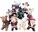 Almmy.6 クリスマス 見上げる動物たち 10種 保存袋 飾り サンタクロース トナカイ 雪だるま スノーマン 動物 アニマル オブジェ