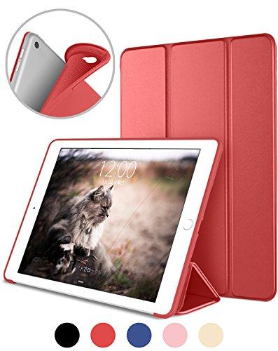 DTTO iPad Air② ケース 超薄型 超軽量 TPU ソフト スマートカバー 三つ折り スタンド スマートキーボード対応 キズ防止 指紋防止 [オート スリープ/スリー プ解除] アップルレッド