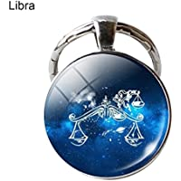 Sanwooden Cute Key Chain Single Face Round Glass 12 Constellation Zodiac Sign Pendant Key Ring Keychain Girl Fashion Accessories