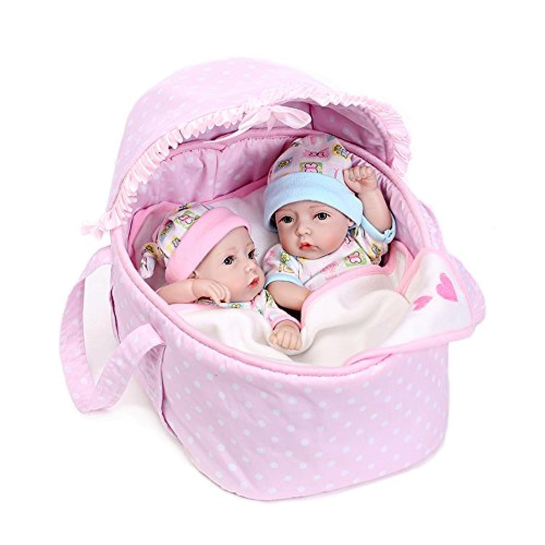 Realistic Reborn Twinsフルボディシリコン赤ちゃん人形男の子女の子防水11インチwith Clothes