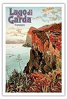 ガルダ湖 - トレモージネ、イタリア - ビンテージな鉄道旅行のポスター によって作成された エットーレ・エリオ・シメネス c.1920s - アートポスター - 76cm x 112cm