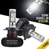 GreenClick H4 LEDヘッドライト 車検対応 50W (25W x2) 8000LM (4000LM x2) 6500k 高輝度CSPチップ搭載 1年間保証付き
