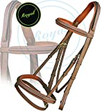 Royal Anti Pressure Cut Head Piece Raised Padded Bridle & PP Rubber Grip Reins./ Vegetable Tanned Leather./ Brass Buckles.