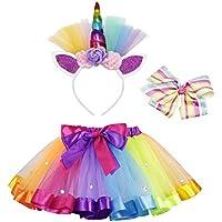 AmzBarley Unicorn Rainbow Tutu Skirt Costume Dress Up Ballet Headband for Girl Birthday Wedding Halloween Cosplay Party Outfits