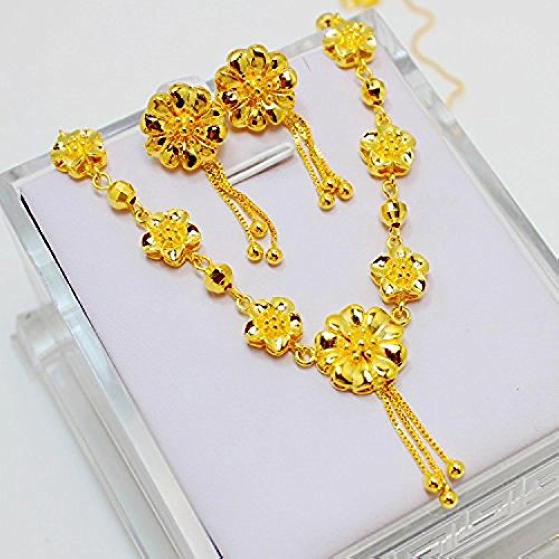 cs-db 24 KゴールドReal 24 KイエローゴールドFilledネックレスイヤリング花リンクセット女性ウェディングジュエリー