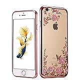 (ギジ)GIZEE iPhone 6 6S 専用 オシャレ かわいい 花 スワロフスキー クリスタル ソフト クリア ケース アイフォン 6S/6 対応 TPUメッキ加工 スマホ バンパー カバー (ローズゴールド)