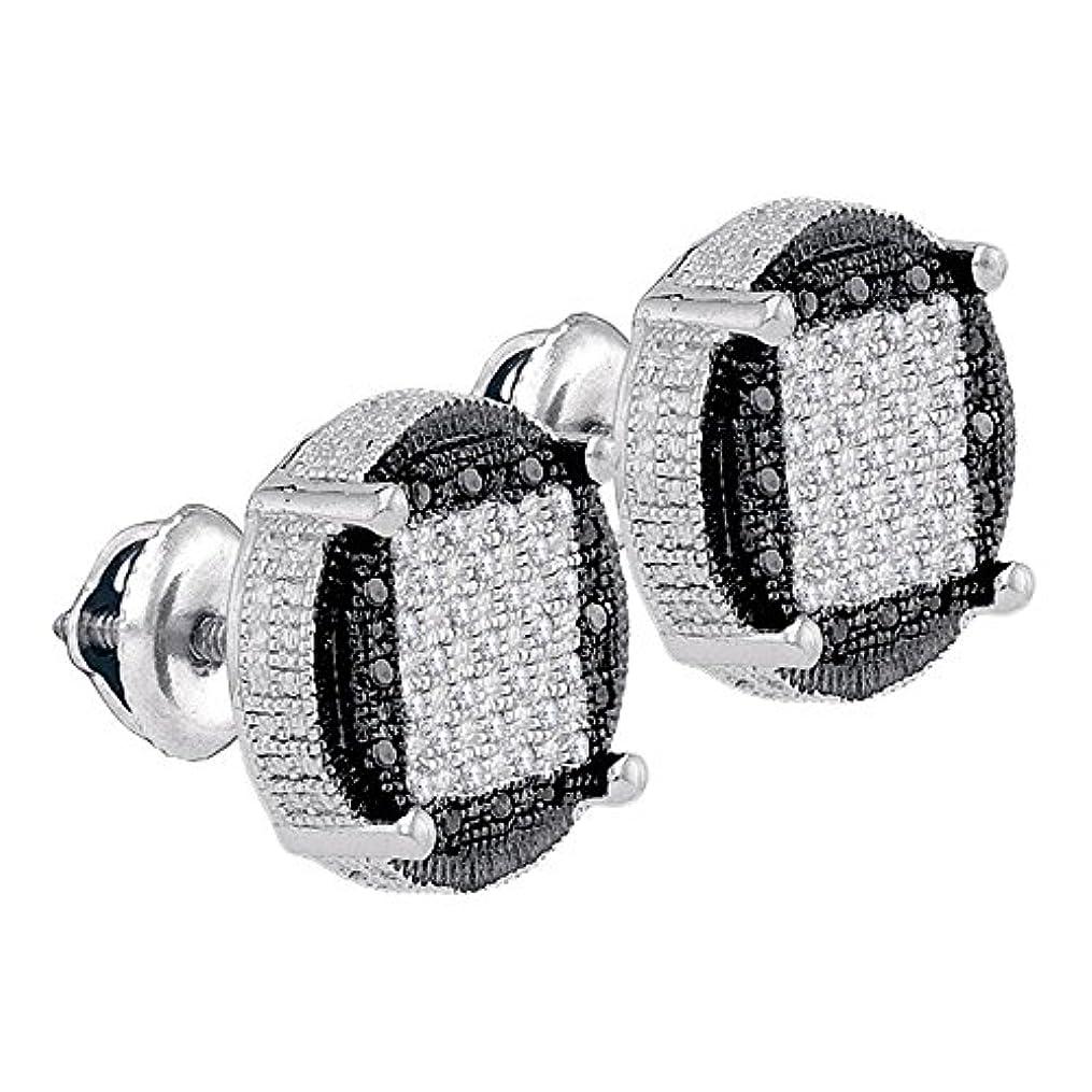 腐った保安公スターリングシルバー男性用ラウンドブラックカラーEnhancedダイヤモンド円クラスタイヤリングCttw