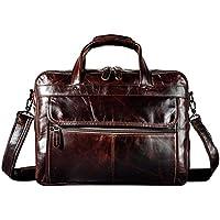 Le'aokuu Mens Genuine Leather Document Case Briefcase Attache Messenger Bag Laptop Portfolio Bag