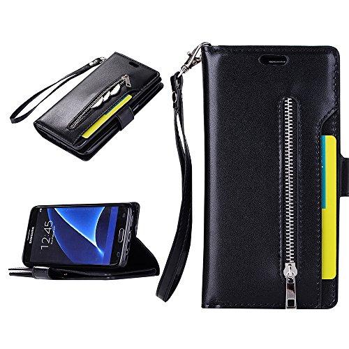 Samsung Galaxy S7 Edge ケース お歳暮 クリスマスプレゼント 高級PUレザー Galaxy S7 Edge 保護カバー ファスナーポケット付き 小銭入れ ストラップ付 カードケース付 スタンド機能 マグネット開閉式 スマホケース カワイイ おしゃれカバー 装着やすい タッチペン付き ブラック