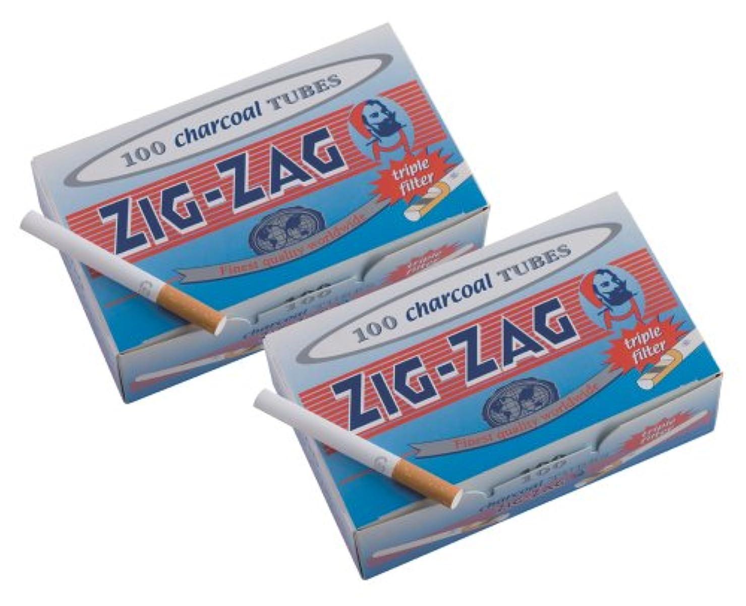 ピクニックハロウィンかける柘製作所(tsuge) 手づくりシガレット用 フィルター付きチューブ(さや紙) ジグザグ レギュラーチャコールチューブ [100本入り] #78874 ×2パック