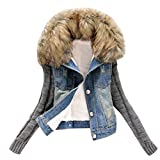 レディース ジーンズ todaiesレディース冬暖かいジーンズボタンニット袖カウボーイデニムポケットジャケットビッグサイズコート2017 L ブルー