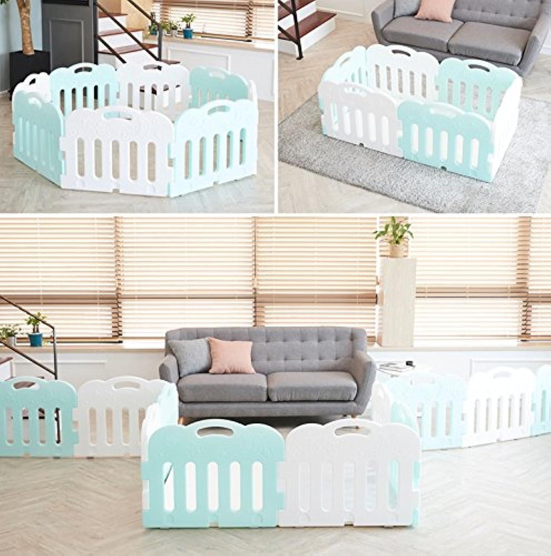 Carazセルフプレーが赤ちゃんフェンス、安全ガードベビー接続し、拡張可能な8P(並行輸入品) (mint(4p)+white(4p))