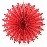 SUNBEAUTY 「5個セット」 赤 雪花形 ペーパーファン 部屋の飾り付け ホームデコレーション 誕生日 結婚式 ウェディング  (50CM)