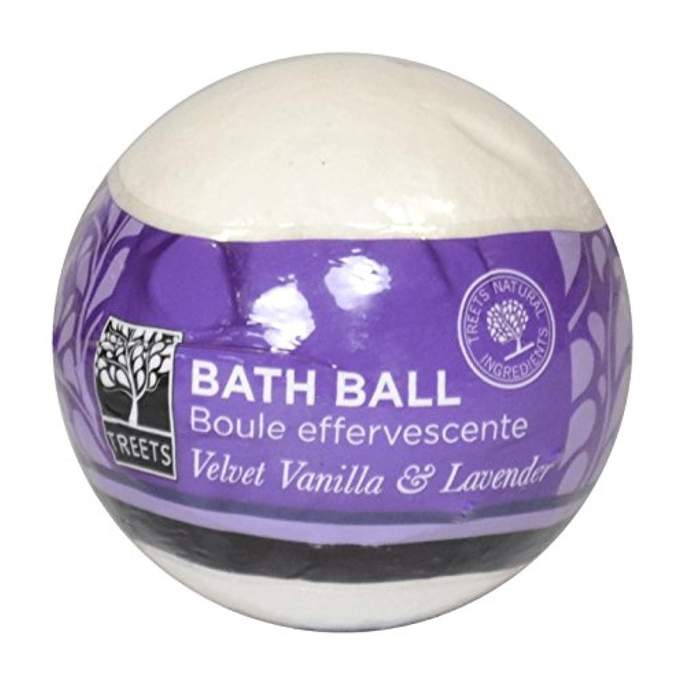 書店把握ウェイトレスTreets Velvet Vanilla & Lavender Bath Ball (Pack of 2) - Treetsベルベットのバニラ&ラベンダーバスボール (x2) [並行輸入品]