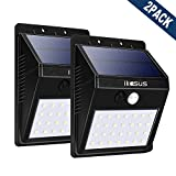 ikasus 28LED センサーライト 2200mAH内蔵バッテリー 長時点灯省エ ソーラーライト 分離可能 壁掛け式 防犯ライト IP65防塵防雨 広角照明 三つの知能モード 白光(2Pack)