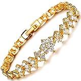 MAX World バングル AAAジルコン 18金 ゴールド メッキ ジュエリー Czダイヤモンド 18K plating Yellow Gold レディースファッション 花のブレスレット