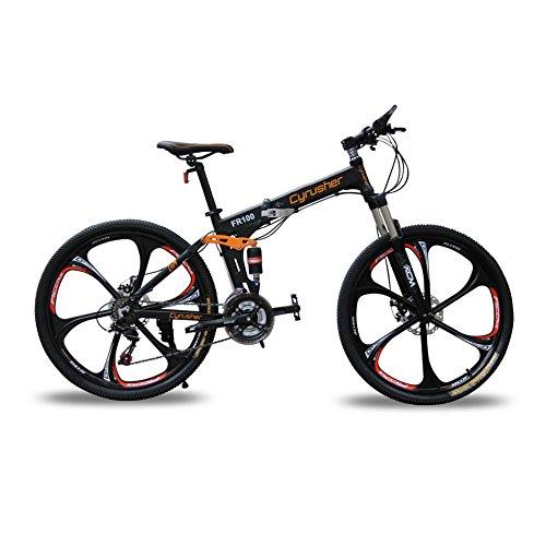 Extrbici FR100 自転車 マウンテンバイク 折りたたみ自転車 MTB シマノ24段変速 ディスクブレーキ フルサスペンション アルミフレーム 26インチ 一体式リム 軽量 [メーカー保証1年]