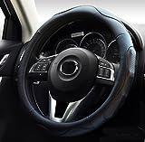 ontto ハンドルカバー ステアイングカバー フィット感を重視 スポーツ風 38cm Mサイズ 触感よく 滑り止め 汚れ防止 通気性いい 高品質 マイクロファイバー革 ブラック