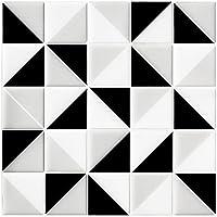 見た目は普通のタイル 3Dはがせるシール カンタンシール 工具不要 水、タイルシール、熱に強い 曲面にも貼れる キッチン、洗面所、トイレの飾りに6枚セット(1枚サイズ25.4X25.4CM) (25.4X25.4cm(6枚), ブラック ホワイト)