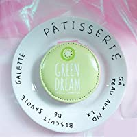 HuaQingPiJu-JP ミニグリーンクリームパターンラウンドスモールガラスミラー工芸品の装飾用化粧品アクセサリーライトグリーン