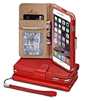 iPhone 6s Plus(5.5)ケース、iPhone 6 Plus(5.5)[スノーフェアリー]フリップカバーケース[プレミアム合成ソフトレザーリストレットシリーズ] [カードホルダー] [財布] - [レザーフィット] iPhone 6s Plus用リストストラップPUレザーケース - スペシャルIDスロットデザイン2015(AP-IP6SP-PUL-I-001)iPhone 6s PlusケースECOパッケージレッド