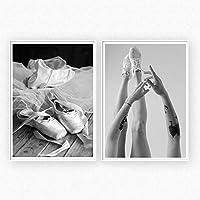 抽象ダンスシューズキャンバス絵画アーム用リビングルーム装飾ポスターウォールアートピクチャー-50x70cmx2ピースフレームなし