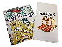 ディッシュタオルセット Texas, Yellow/Fort Worth