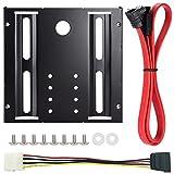 Zacro HDD/SSD用サイズ変換ブラケット(2.5インチ→3.5インチ) 下L型シリアルATA3ケーブル ネジ 電源ケーブル セット SSD/HDD変換マウンタ