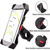 Bike Phone Mount Anti Shake and Stable Cradle Clamp with 360° Rotation Bicycle Phone mount / Bike Accessories / Bike Phone Holder for iPhone Android GPS Other Devices Between 3.5 to 6.5 inches (one year warranty)