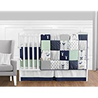 Navy Blue Mint and Grey Woodsy Deer Boys Baby Bedding 9 Piece Crib Set with Bumper [並行輸入品]